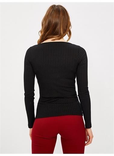 Vekem-Limited Edition U Yaka Pamuklu Bluz Siyah